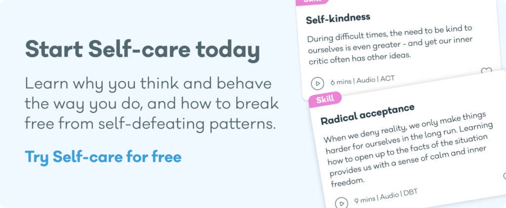 Screenshot of Self-care, the audio and video therapy app from My Online Therapy