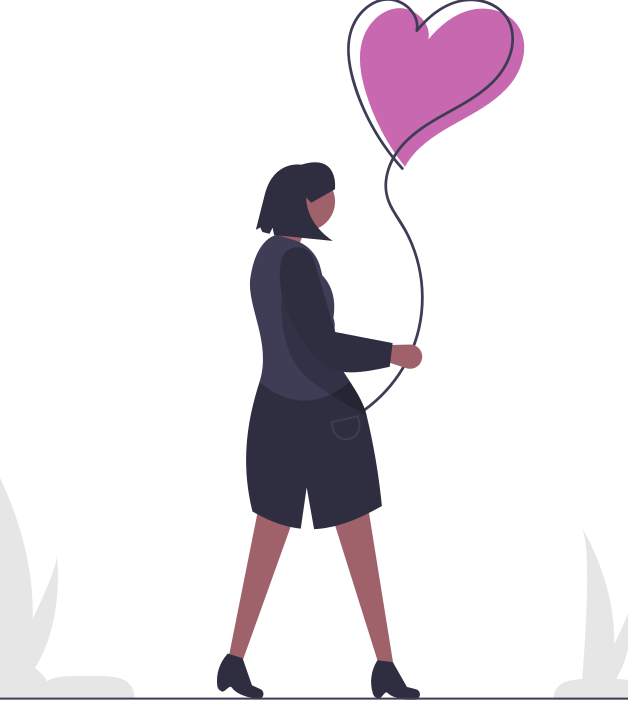 Woman with heart-shaped balloon
